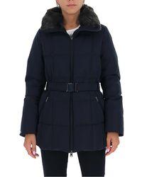 Woolrich Fur-trim Belted Coat - Blue