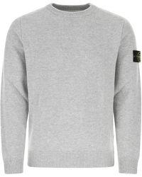 Stone Island Melange Light Wool Blend Jumper Uomo - Grey