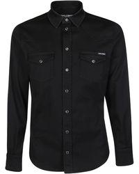 Dolce & Gabbana Gold Buttoned Shirt - Black