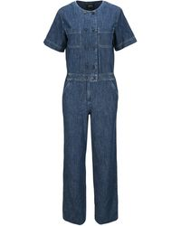 A.P.C. Helene Denim Short-sleeve Jumpsuit - Blue