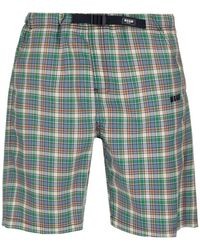 MSGM Checked Bermuda Shorts - Green
