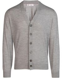 Brunello Cucinelli V-neck Knitted Cardigan - Gray