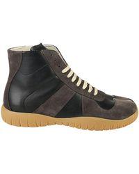 Maison Margiela - Lace Up Hi Top Sneakers - Lyst