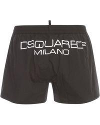 DSquared² Logo Print Drawstring Swim Shorts - Black
