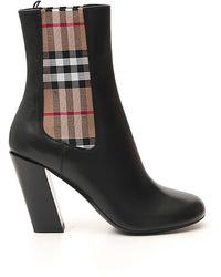 Burberry Vintage Check Detail Ankle Boots - Black