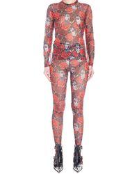 Comme des Garçons Printed Mesh Two Piece Set - Red
