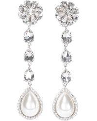 Alessandra Rich Crystal Embellished Pearl Drop Earrings - Metallic