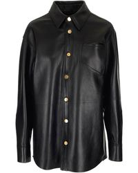 Bottega Veneta Leather Shirt - Black