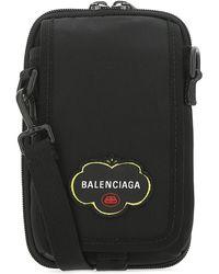 Balenciaga Logo Patch Crossbody Bag - Black
