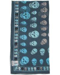 Alexander McQueen Silk Skull Scarf - Blue