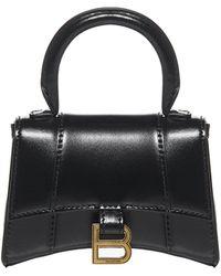 Balenciaga Hourglass Xs Top Handle Mini Bag - Black