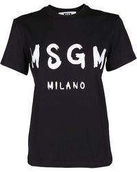MSGM Paint Brush Logo T-shirt - Black
