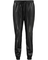 MICHAEL Michael Kors Drawstring Slim Fit Leather Trousers - Black