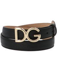 Dolce & Gabbana Monogram Logo Buckle Belt - Black