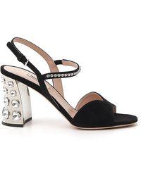 Miu Miu Crystal Embellished Heel Sandals - Black