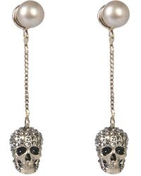 Alexander McQueen Pave Skull Earrings - Metallic