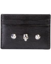 Alexander McQueen Black Skull & Stud Leather Card Holder Accessories