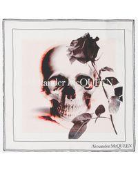 Alexander McQueen Rose Skull Silk Scarf - Multicolour