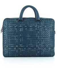 Bottega Veneta Woven Laptop Bag - Blue