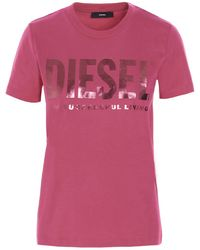 DIESEL Logo Print T-shirt - Pink