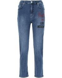 Love Moschino Cropped Boyfriend Jeans - Blue