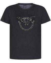 Pinko Quentin 1 Crystals-logo Cotton T-shirt - Black