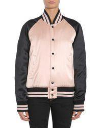 "Saint Laurent Varsity ""teddy"" Satin Jacket - Multicolor"