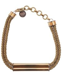 Lanvin Brass Necklace With Application - Metallic