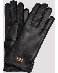 Gucci Double G Leather Gloves - Black