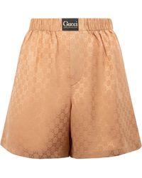 Gucci GG Logo Label Shorts - Brown