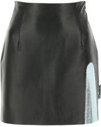 Off-White c/o Virgil Abloh Leather Mini Skirt 40 - Black