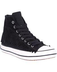 Palm Angels Fringe High Vulcanized Sneakers - Black