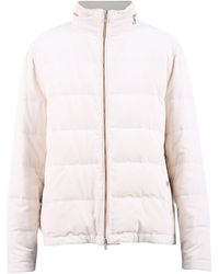 Brunello Cucinelli Padded Zipped Jacket - White