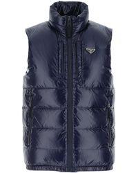 Prada Blue Nylon Sleeveless Down Jacket Nd Uomo
