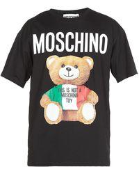 Moschino Bear Logo Print T-shirt - Black