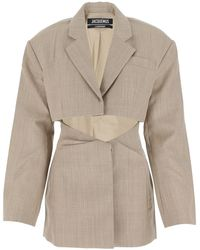 Jacquemus Arles Tailored Cut-out Suit Jacket - Natural