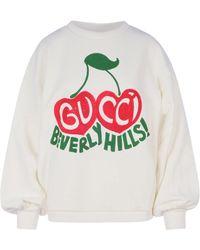 Gucci Beverly Hills Cherry Print Sweatshirt - White
