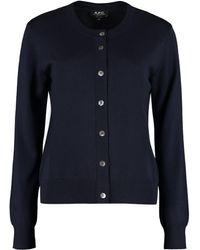 A.P.C. Marine Merino Wool Cardigan - Blue
