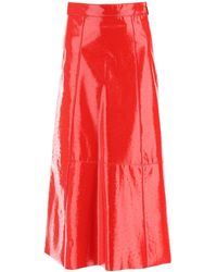 MSGM Ostrich-effect Faux Leather Midi Skirt - Red