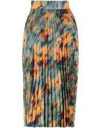 Off-White c/o Virgil Abloh Floral Printed Pleated Midi Skirt - Multicolour