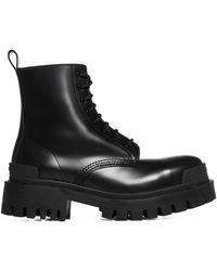 Balenciaga Womens Black Strike Leather Platform Ankle Boots 7