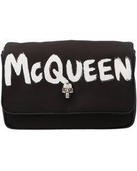 Alexander McQueen Graffiti Skull Small Shoulder Bag - Black