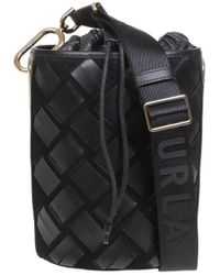 Furla S Lipari S Bucket In Leather And Suede - Black