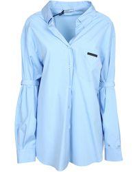 Prada Logo Patch Oversized Shirt - Blue