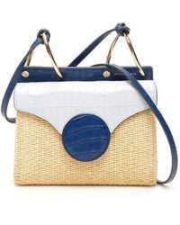 Danse Lente Mini Phoebe Raffia & Leather Folio Bag - Blue
