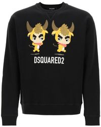 DSquared² Crewneck Sweatshirt With Year Of The Ox Print S Cotton - Black