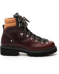 DSquared² Lace-up Mountain Boots - Red