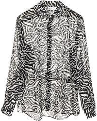 Saint Laurent Zebra Printed Shirt - Black