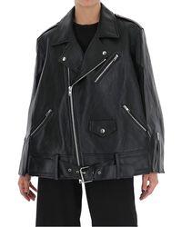 Maison Margiela Memory Of Oversized Leather Jacket - Black