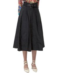 Pinko Belted Flared Midi Skirt - Black